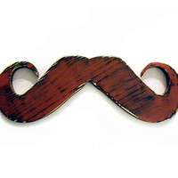 Mustache (Pictured in Brick) Pine Wood Sign Wall Decor Rustic Americana French Country Chic
