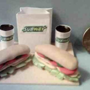 Barbie Sized Subway Sub Sandwich Food Display Board
