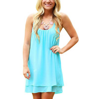 Summer Style Solid Color Backless Mini Dress Women Halter Pleated Dress