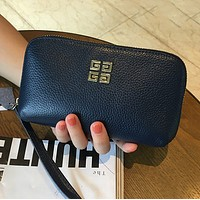 Givenchy new ladies first layer leather leather zipper clutch bag hand bag Blue