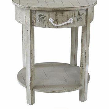 Seaside White Shell 1 Drawer Round Wood Accent Table by Crestview Collection CVFZR1546