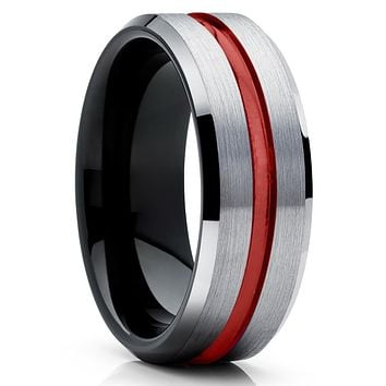 Red Tungsten Wedding Band - Black Tungsten Ring - Grey Tungsten Ring
