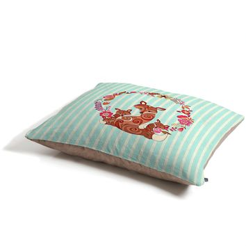 Monika Strigel Fox And Flowers And Blue Stripes Pet Bed