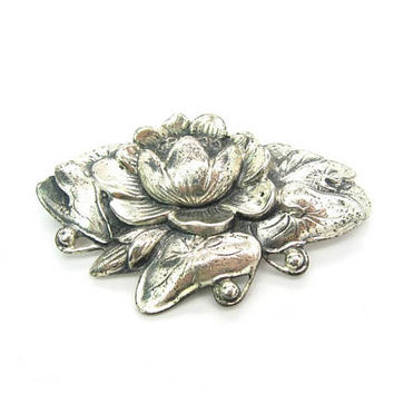 Sterling Silver Lotus Brooch. Water Lily Flower & Leaf Pads Figural. Early Danecraft. Vintage 1940s Retro Jewelry by Victor Primavera 24.1g