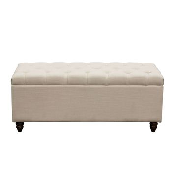 Park Ave Tufted Lift-Top Storage Trunk - Desert Sand Linen