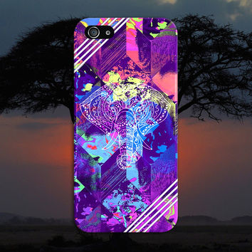 Tye Dye Geometric Elephants x White Stripes Case, iPhone 7, iPhone 7 Plus, Tough iPhone Case, Galaxy S7, Samsung Galaxy, CASE ESCAPE