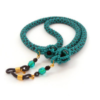Eyeglass holder, beadcrochet rope for eyeglass with beaded bead, green black beaded rope