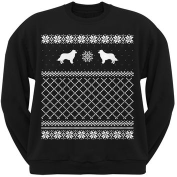 Border Collie Black Adult Ugly Christmas Sweater Crew Neck Sweatshirt