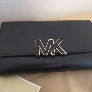 NWT MICHAEL KORS FLORENCE BLACK LEATHER LARGE BILLFOLD ID CLUTCH/WALLET