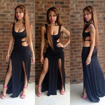 Black Sleeveless Side Cut-Out High Slits Maxi Dress