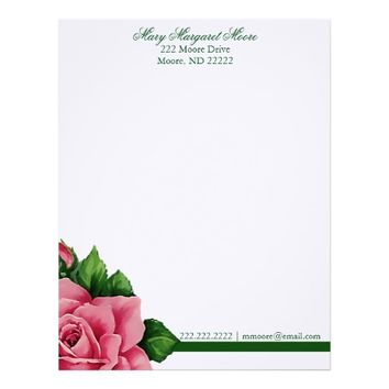 Pretty Damask and Floral Rose Letterhead