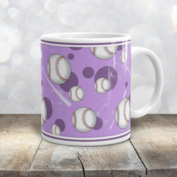 Purple Baseball Mug - Sports Themed Baseball Pattern on Purple - 11oz or 15oz - Made to Order