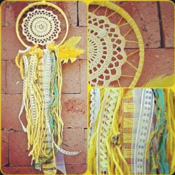 Dream Catcher with crochet center in yellow by TheLittleBigShop