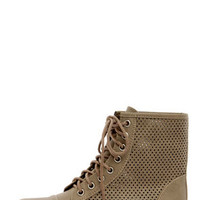 Georgia 45 Beige Perforated Lace-Up Ankle Boots