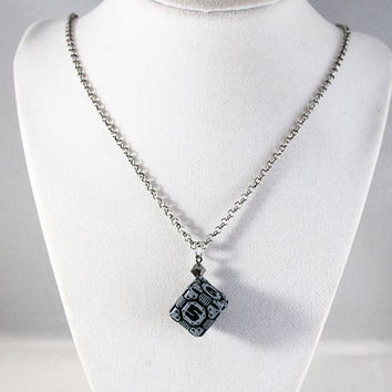 Tech Grey D6 Dice Necklace - Tabletop Gaming Jewelry with Crystal Accents