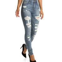 Sale-lt. Denim Slight Distressed Skinny Jeans