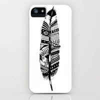 Feather time  iPhone & iPod Case by Animaux Circus