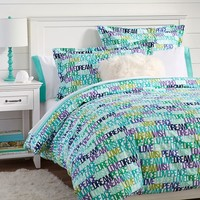 Dreamy Words Flannel Duvet Cover + Sham