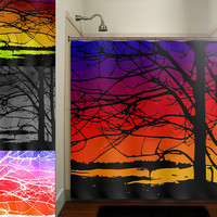 colorful sunset bay trees shower curtain bathroom decor fabric kids bath white black custom duvet cover rug mat window