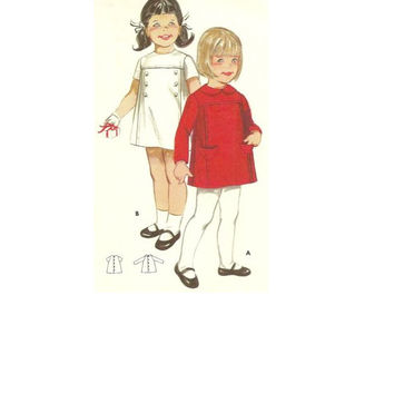 Butterick 60s Sewing Pattern Girls Dress Long Short Sleeves Jewel Neck A-line Uncut FF Breast 19 Infant Toddler Size