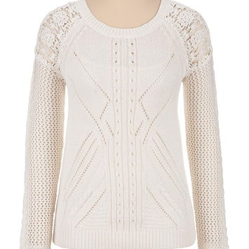 Pointelle Scoop Neck Sweater With Lace Shoulder - Beige