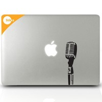 MAC DECAL vinyl laptop stickers Wall Computer Geekery- Apple Mic- Removable Decal 40