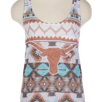 University Co-op Online | Ladies Longhorn Aztec Print Tank Top