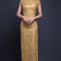 Short Sleeve Sequin Mesh Golden Qipao Gown