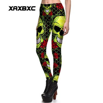 Poison Skull Rose Printed Stretch Fitness Women Leggings Plus Size