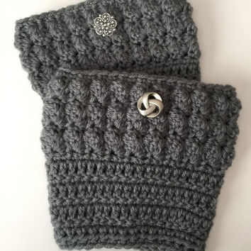 Handmade Adorable Crocheted Bobble Boots Cuffs - Any Size - Any Color