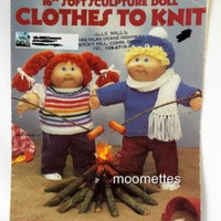 Soft Sculpture Doll Clothes to Knit 16 Inch Leisure Arts Knitting Pattern 368 Vintage