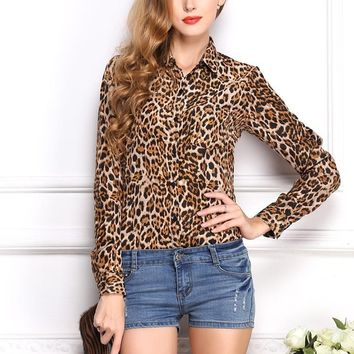 Long Sleeve Leopard Print Chiffon Blouse Top