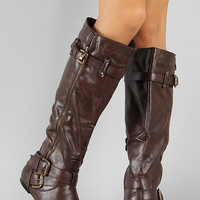 Bianca-05 Zipper Buckle Riding Knee High Flat Boot