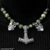Double Snarling Wolves Mjolnir Flanked by Tribal Wolves On Leather Necklace with Gemstone Beads