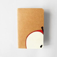 Apple handpainted journal, hand decorated mini ruled notepad, school or recipes notebook gift idea