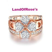 Luxury Heart Flower Wedding Ring set  3 PCS Rose Gold Color CZ Crystal  Engagement Ring