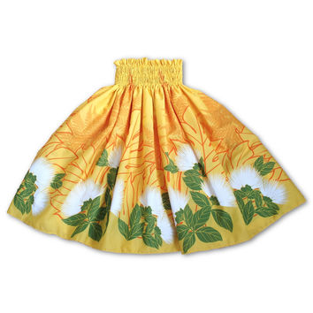 lehua yellow single hawaiian pa'u hula skirt
