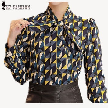 Bow Tie Geometric Print Blouse Women Clothing