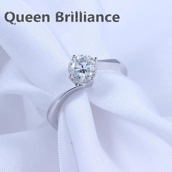 Queen Brilliace 0.8 carat  F Color Lab Grown Moissanite Diamond Engagement Wedding Ring Solid 14K 585 White Gold Free Shipping