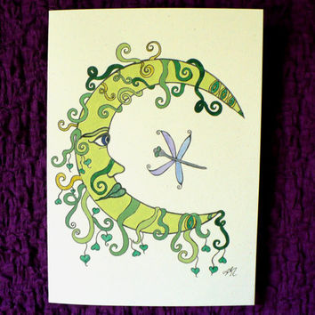 Fantasy  / Folk  - Moon and Dragonfly - Hand Painted, Greeting Card w / envelope - Recycled Paper - IntricateKnot