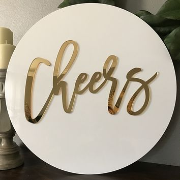 Round 3D Acrylic Name Sign, Single Name/Word