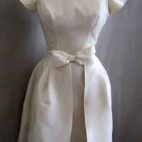 Vintage 60s Silk Shantung Retro Cocktail Sheath WEDDING DRESS by Lorrie Deb with OVERSKIRT Bow Trim Party Bust 35""