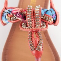 Jeweled and Woven Scarf Thong Sandal - Fuschia from Sandals at Lucky 21 Lucky 21