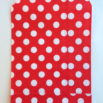 25 Red Polka Dot favor bags / Treat Bags / Wedding Favor Bags / Birthdays / Party Favor Bags / Polka Dot Paper Treat Bags / Bakery Bags