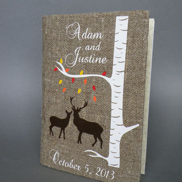 Wedding guest book  Doe and Buck under white birch tree with colorful leaves