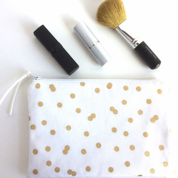 Small Makeup Bag, Gold Polka Dot Bag, Small White Pouch, Small Zipper Pouch