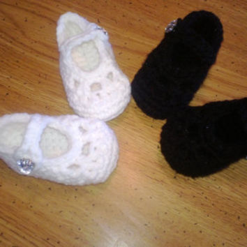 Made to order, You pick Colors, Crochet Baby Mary Jane Booties