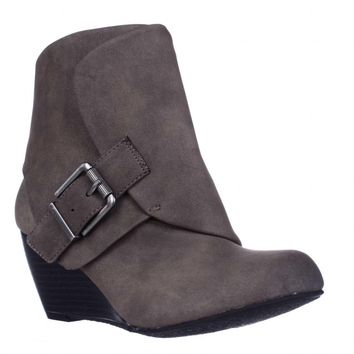 AR35 Coreene Cuffed Wedge Ankle Booties, Taupe, 9 US