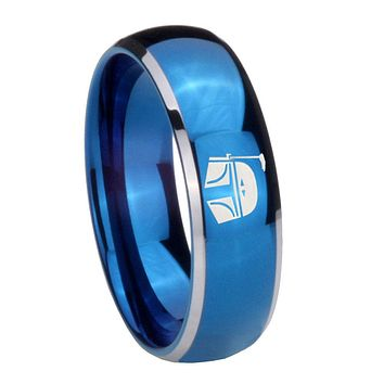 8MM Glossy Blue Dome Star Wars Boba Fett Sci Fi Science Tungsten 2 Tone Laser Engraved Ring