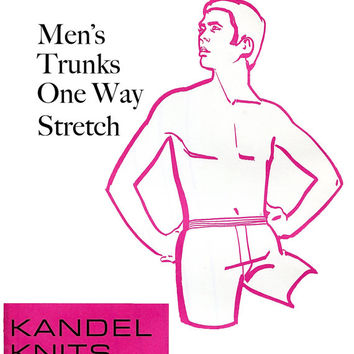 1970s Men's Trunks/Underwear Sewing Pattern Size 28, 30, 32, 34, 36 UNCUT Vintage Sewing Pattern Kandel Knits 80 - One Way Stretch